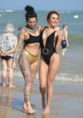 Jemma Lucy and Zaralena Jackson on Beach in Spain
