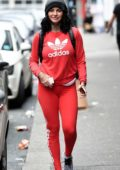 Jemma Lucy in All Red leaving a Spa in Manchester, UK