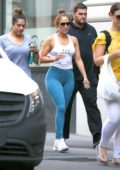 Jennifer Lopez in Blue Leggings and Tank Top leaving the Gym after her morning workout in Miami