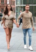 Jessica Shears in a Short Dress out for Lunch with Dom Lever in Manchester City Centre