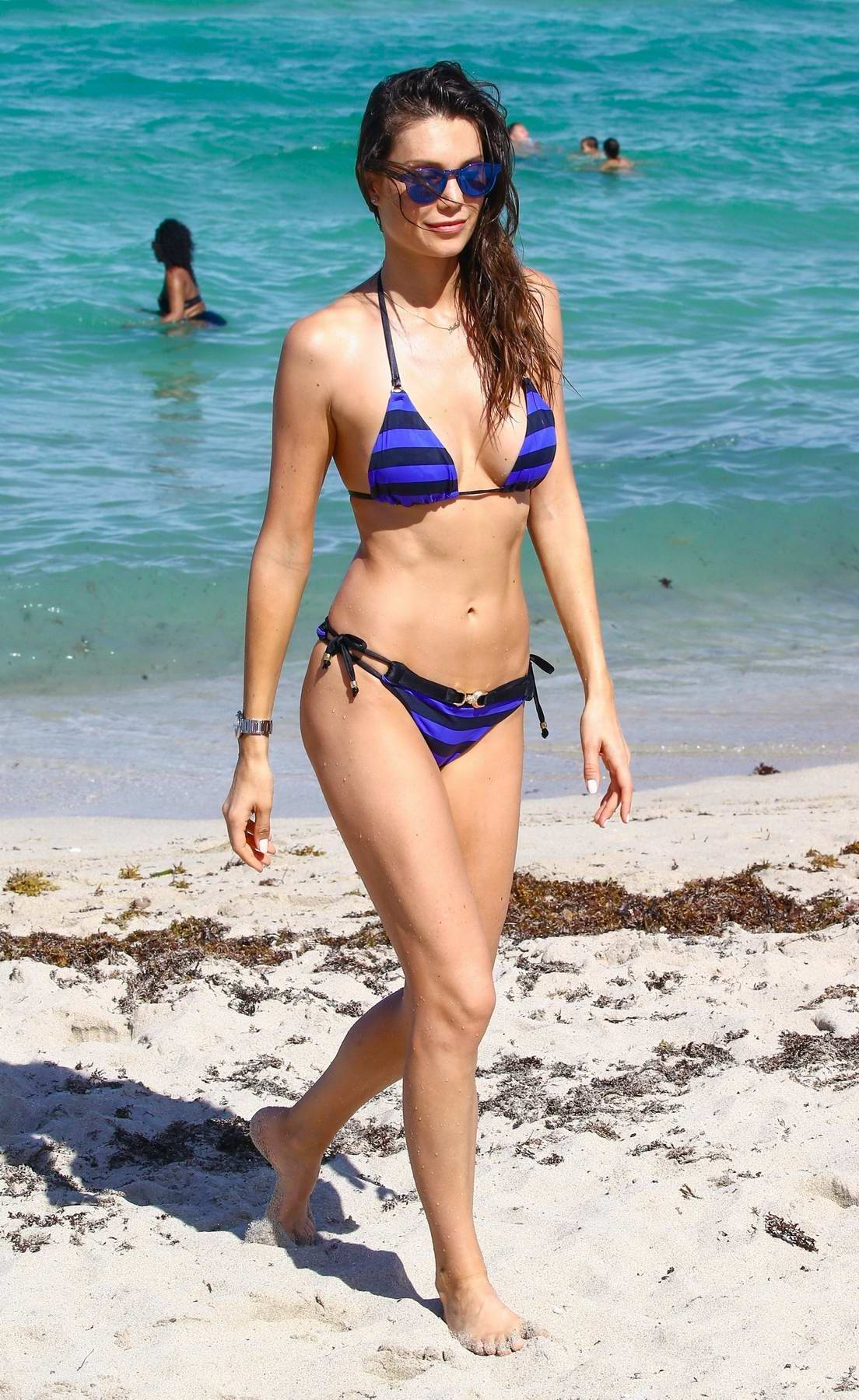 Julia Pereira in a Blue Striped Bikini at the Beach in Miami