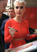 Katy Perry wears a Red Outfit as she meets Fans in Sydney