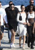 Kendall Jenner and Bella Hadid on Nammos Beach in Mykonos, Greece