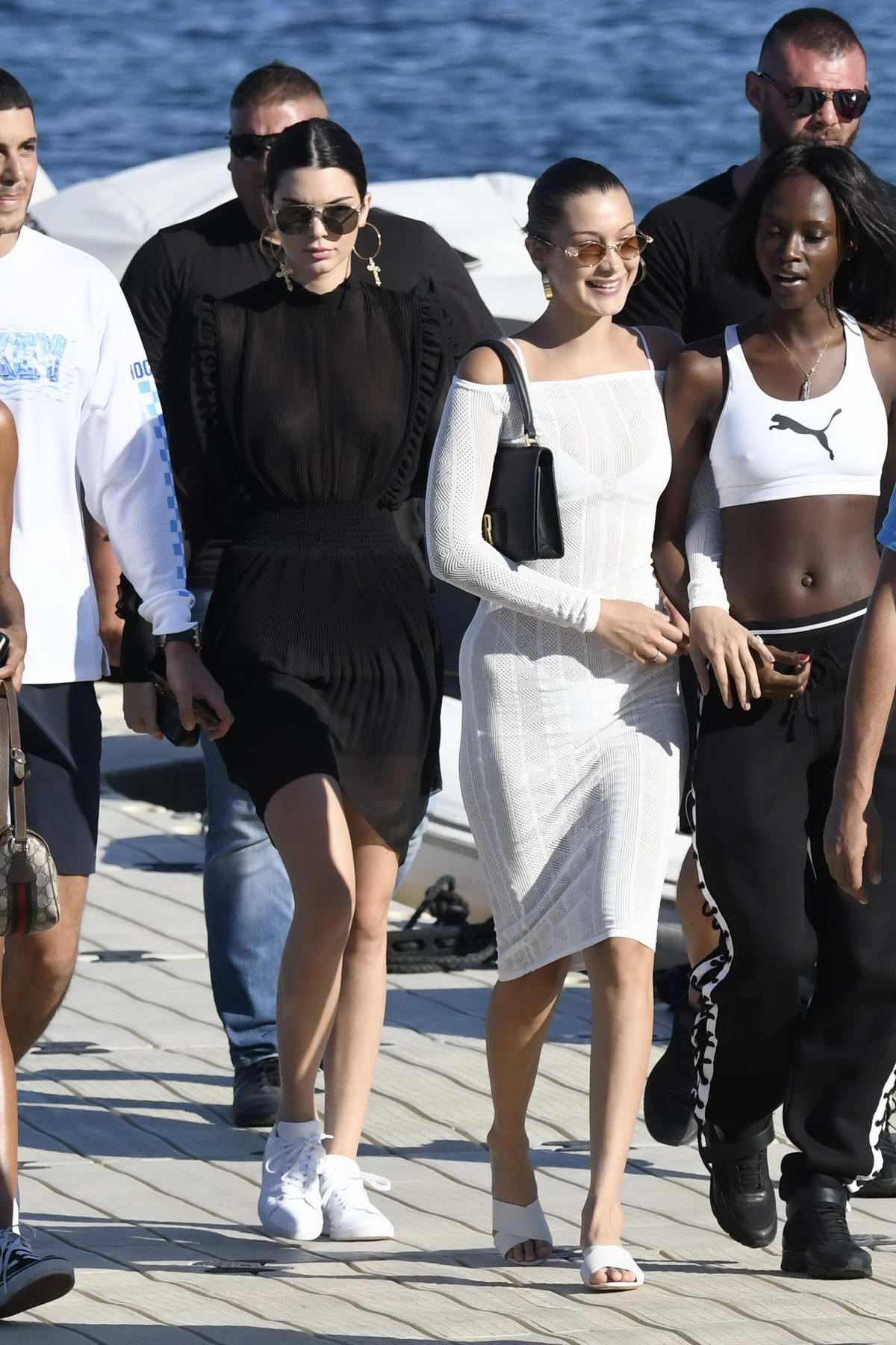 Kendall Jenner and Bella Hadid on Nammos Beach in Mykonos, Greece