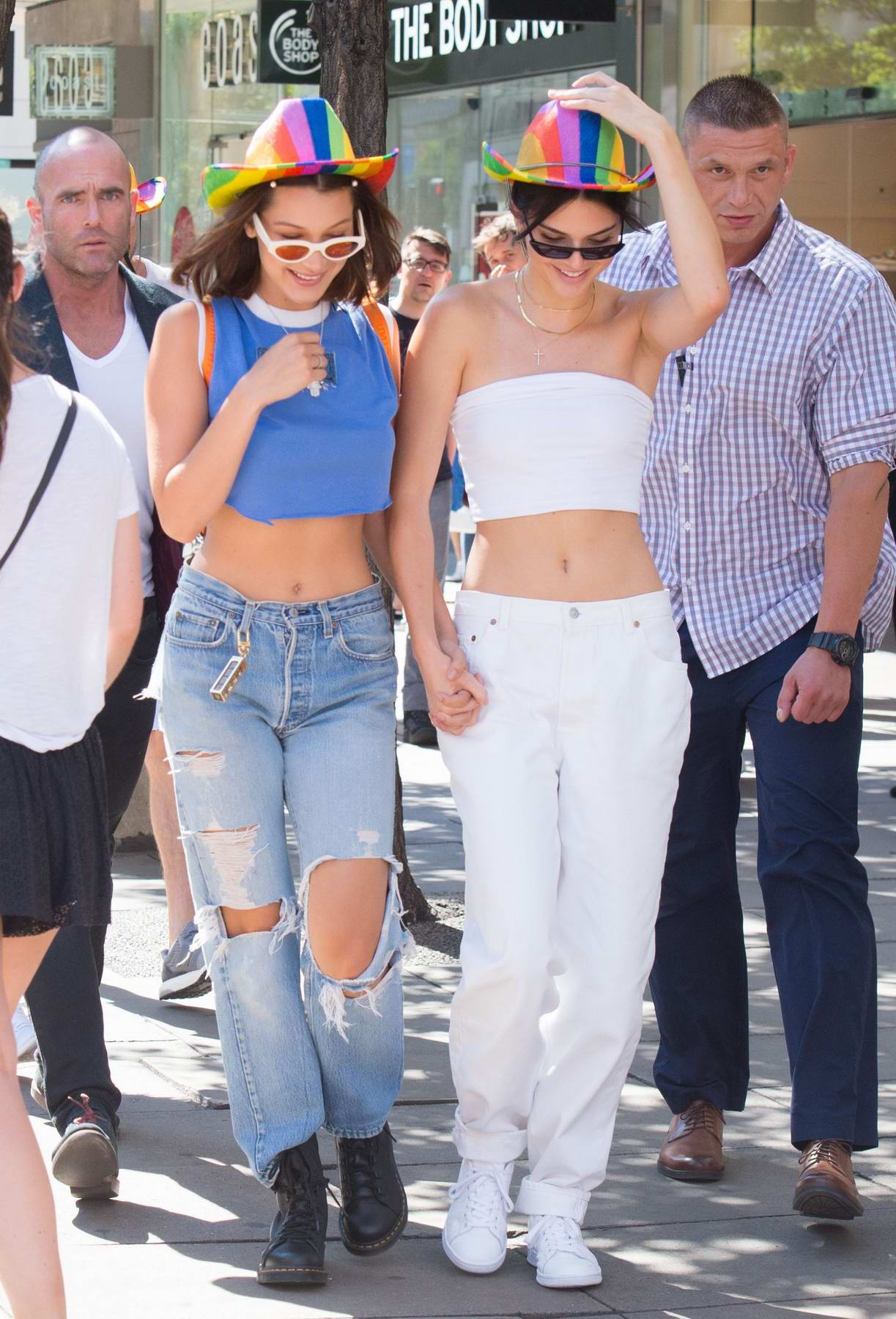 kendall jenner and bella hadid wearing rainbow hats at the ...