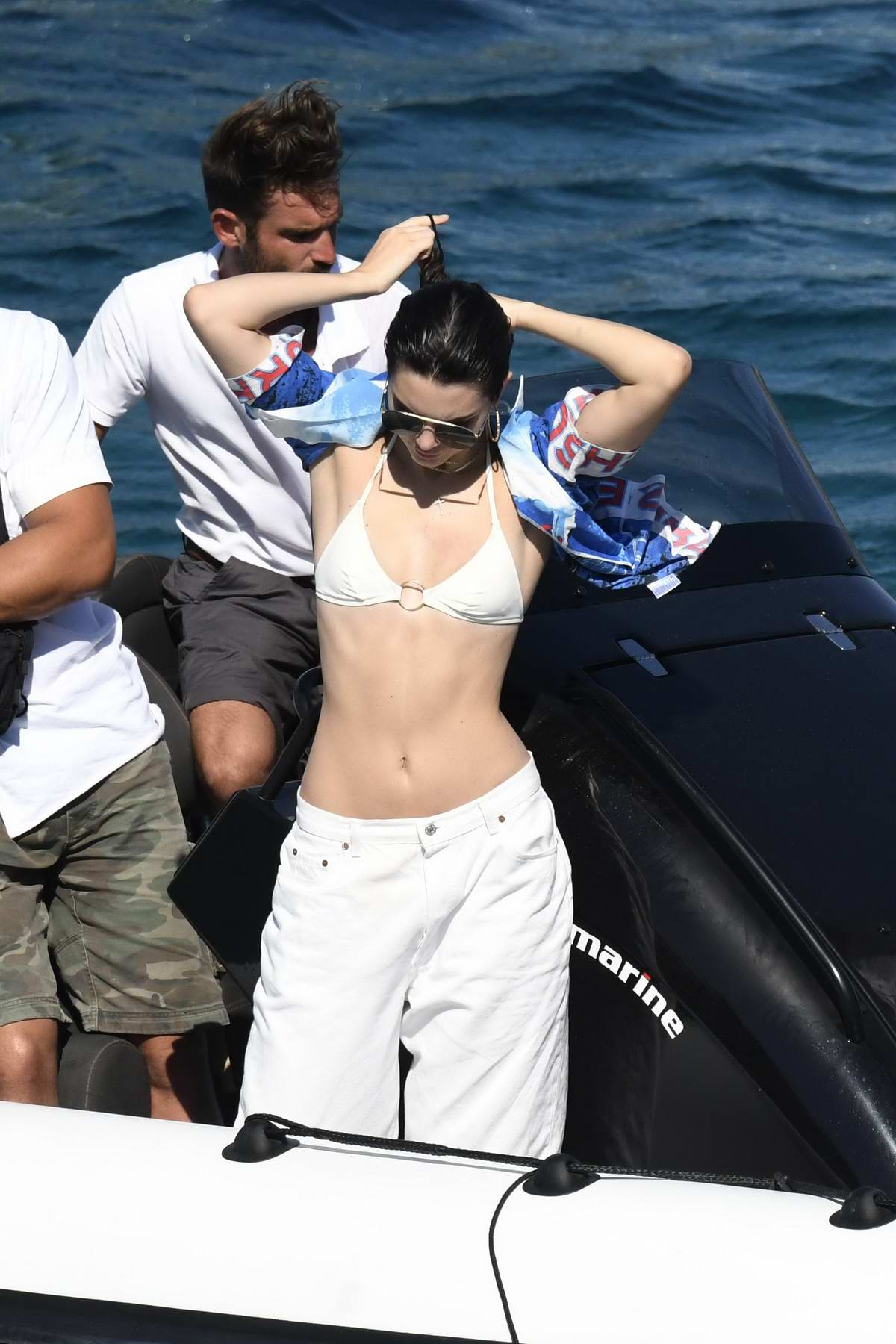 Kendall Jenner on a Boat Trip on Nammos Beach in Mykonos, Greece