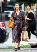 Lily Aldridge wears a Floral Dress while walking out in New York