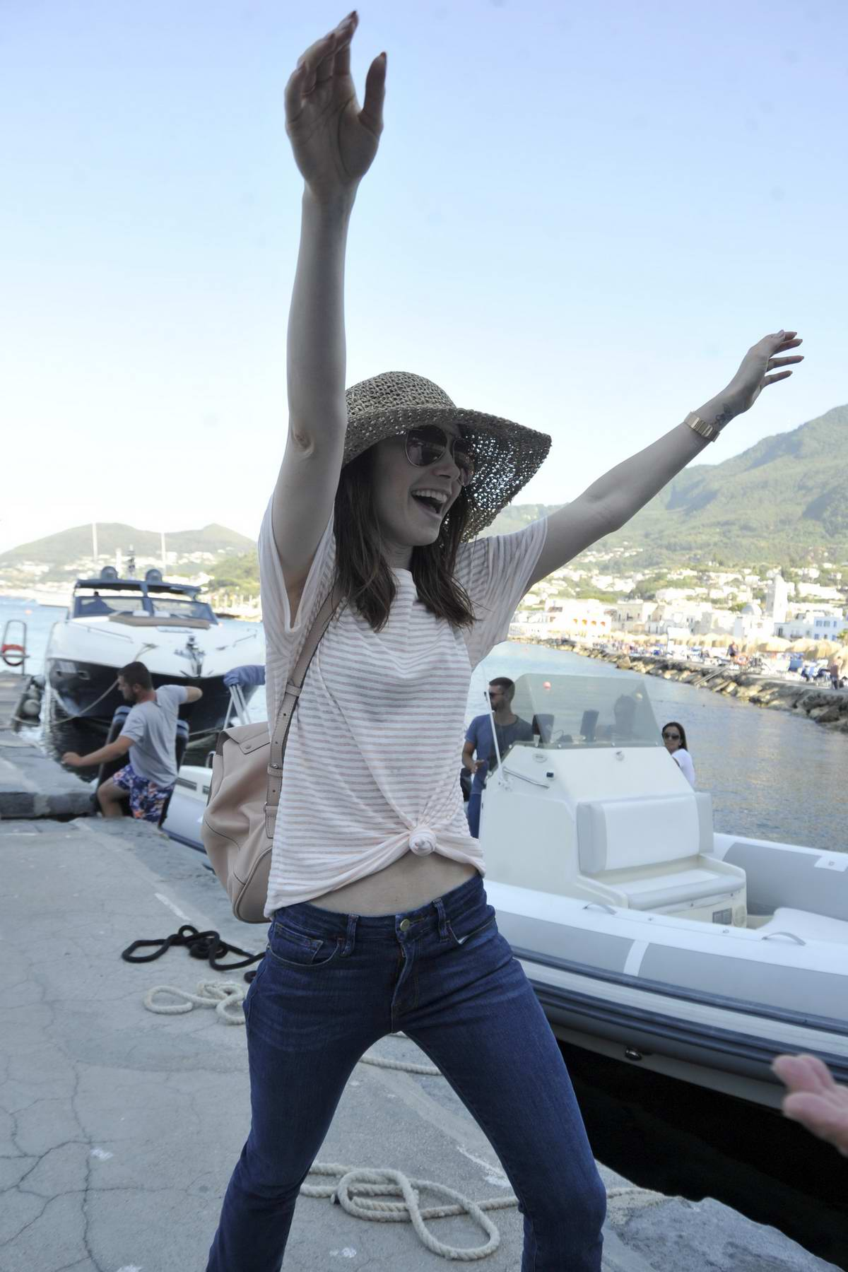 Lily Collins arriving at her Hotel during Ischia Global Festival in Italy