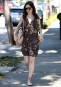 Lily Collins in a Floral Dress out Shopping with her Mother in West Hollywood