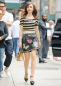 lily collins in striped top and leather skirt out and about in new york-250717_#