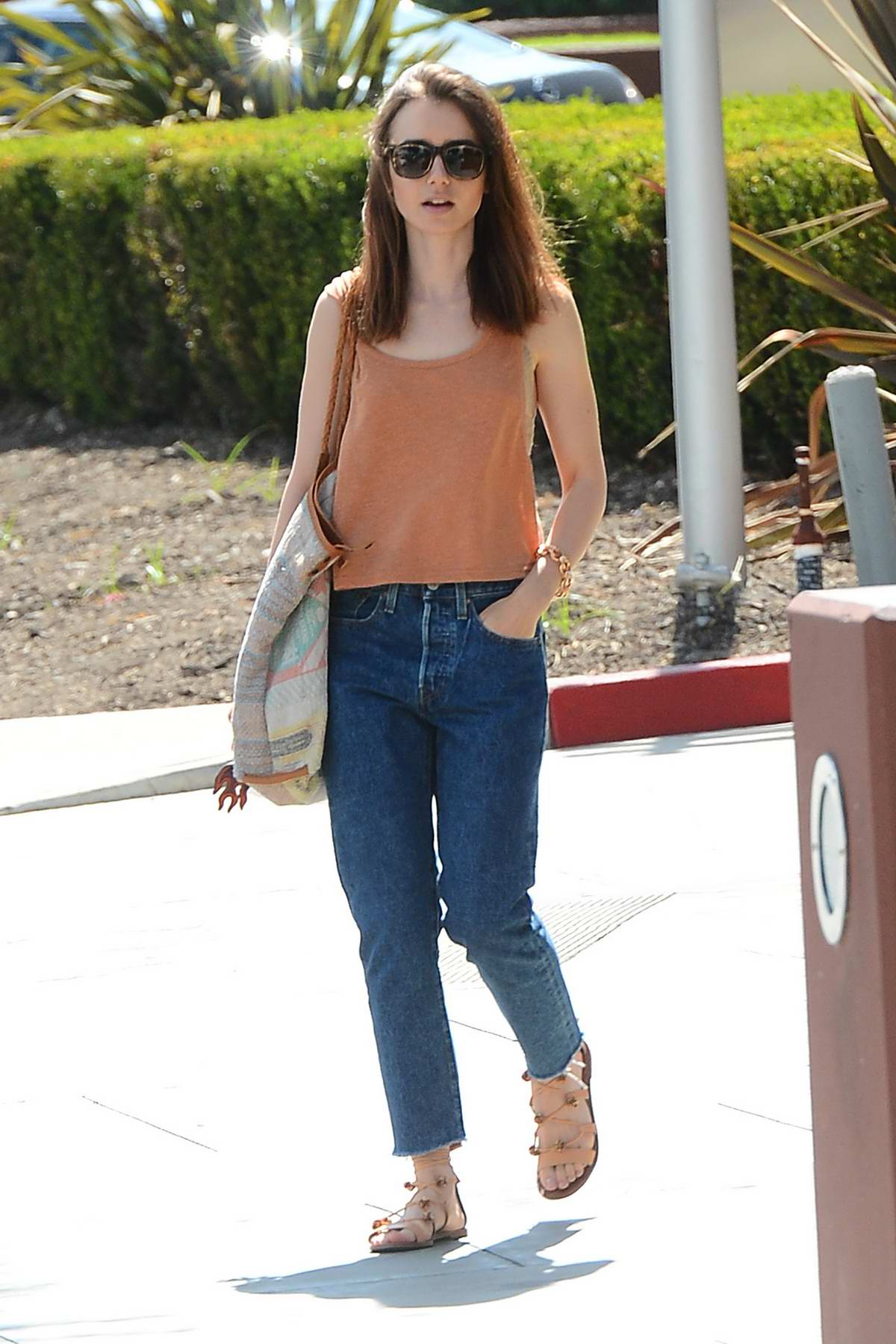 Lily Collins Out Shopping For Furniture At The Pacific Design Center With  Her Mother