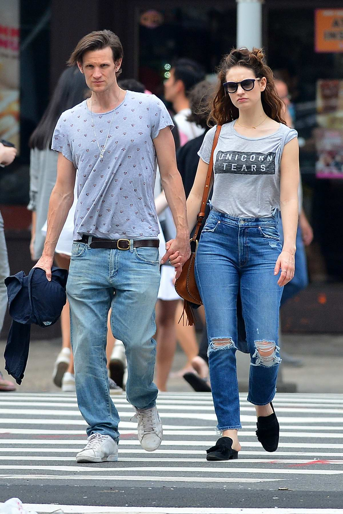 Lily James enjoying a day out with boyfriend Matt Smith in New York