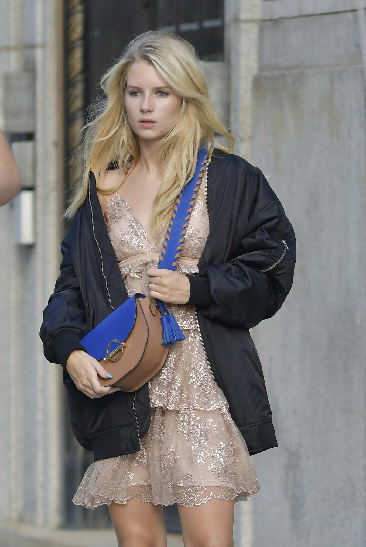 Lottie Moss on the Set of a Photoshoot for Samantha Thavasa Bags in New York
