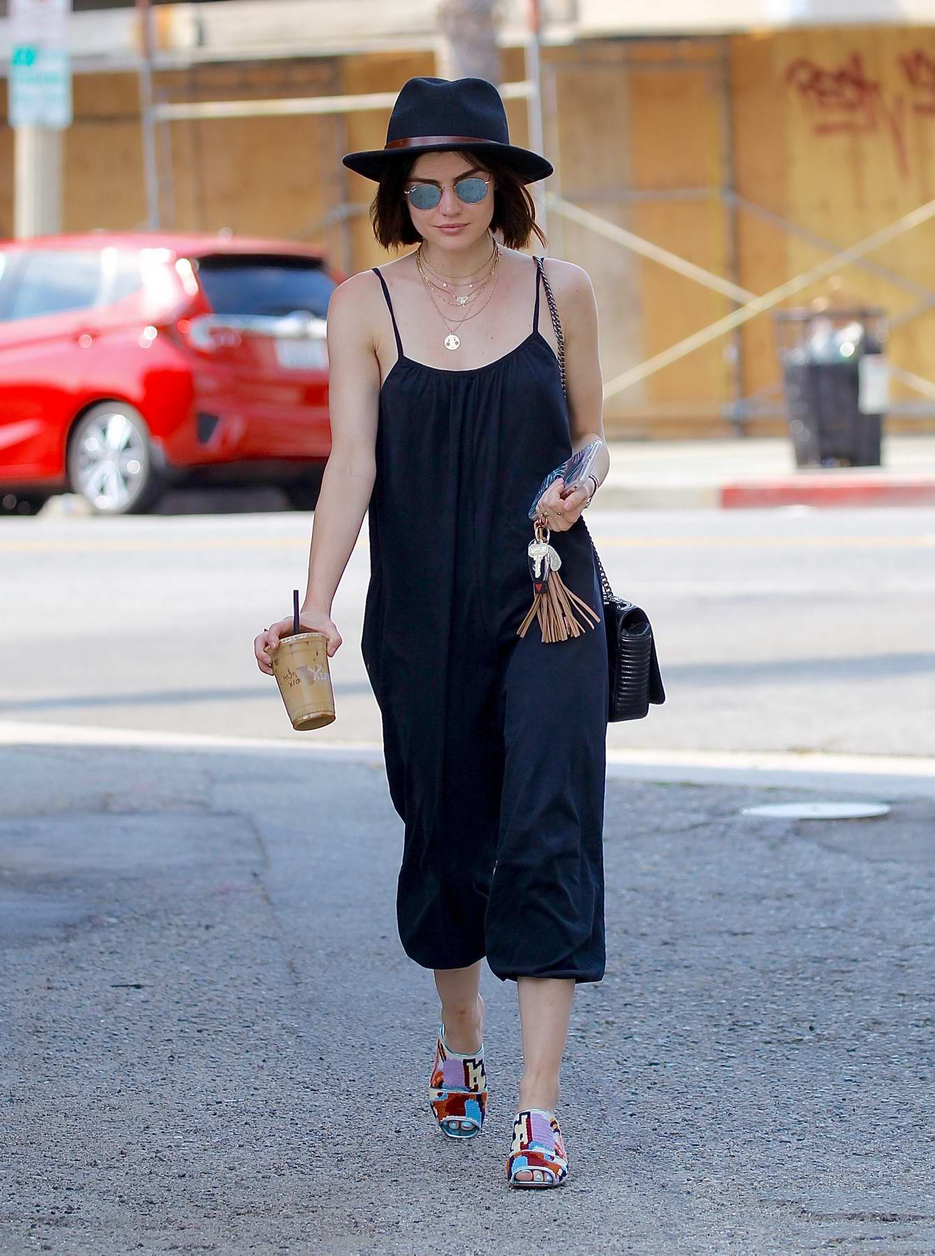 Lucy Hale grabs Iced Coffee from Alfred Coffee Shop in Studio City, Los Angeles