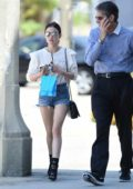 Lucy Hale in a Off-White Top and Denim Shorts Out and About in Los Angeles