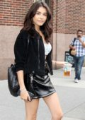 Madison Beer enjoys some Starbucks while leaving Elvis Duran and The Morning Show in New York