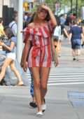 Martha Hunt in a Striped Red Jumpsuit out in Manhattan, New York