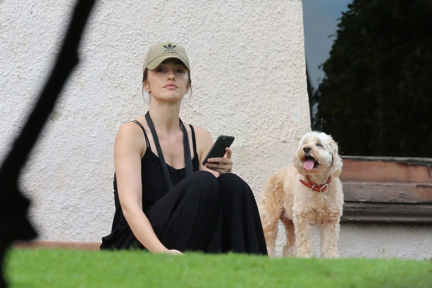 Minka Kelly spends her afternoon at a dog park with her Dogs in Los Angeles