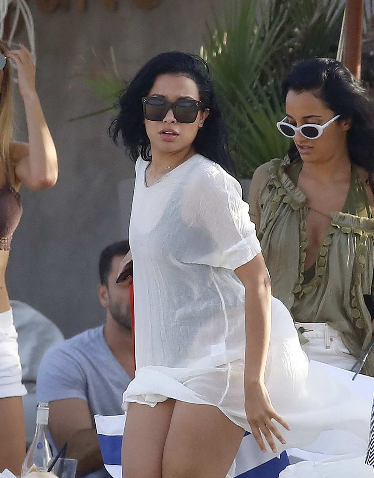 Mirtha Michelle Holidaying with friends on the Beach in Ibiza, Spain