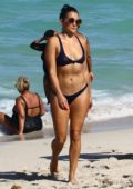 Natalie Martinez in a Blue Bikini while enjoying the Beach in Miami