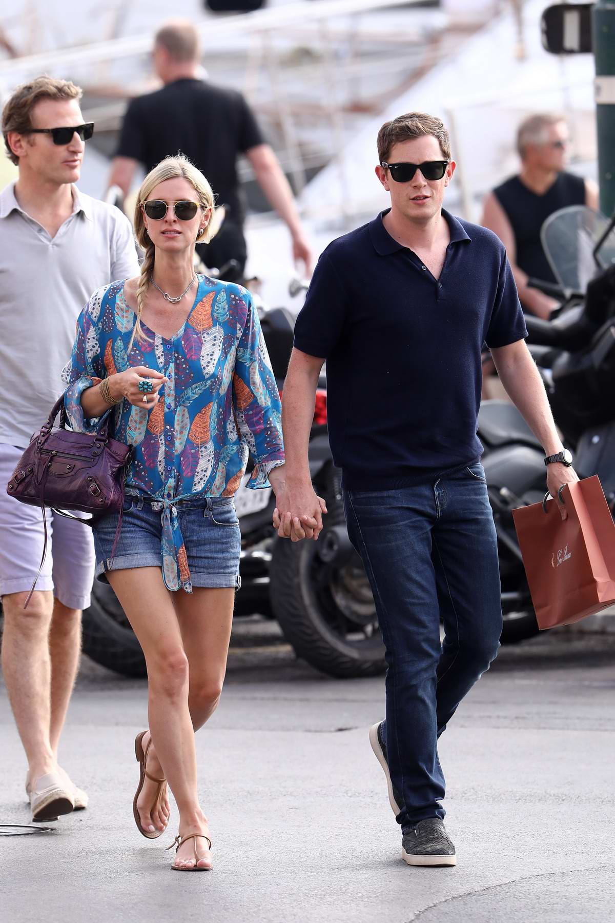 Nicky Hilton and Husband James Rothschild walking on the port of Saint-Tropez, France
