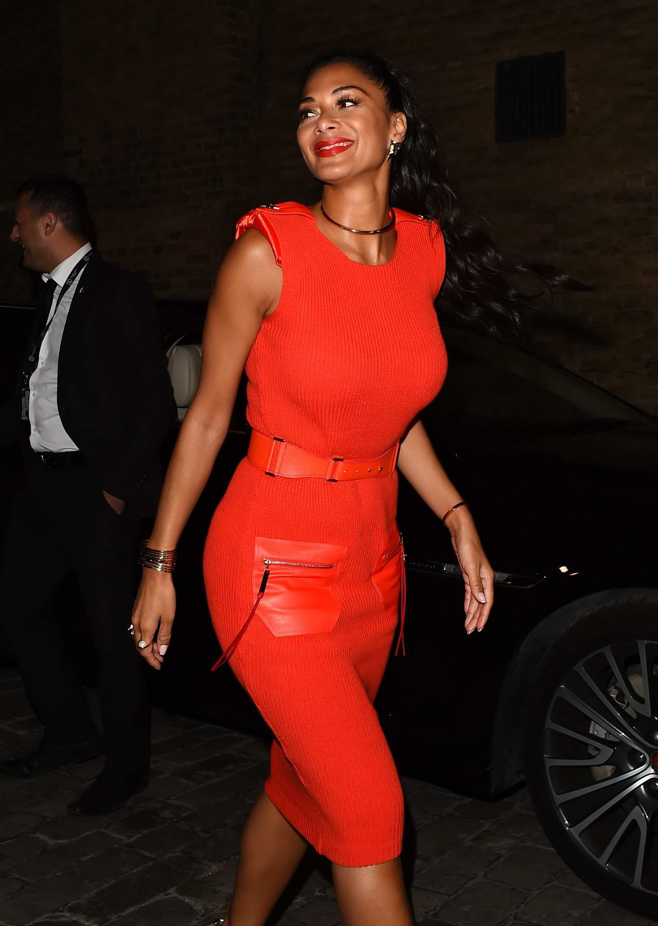 Nicole Scherzinger in a Bright Red Dress leaving the X Factor Auditions in London