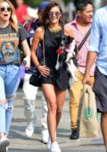 Nina Dobrev is spotted walking her Dog out in Los Angeles