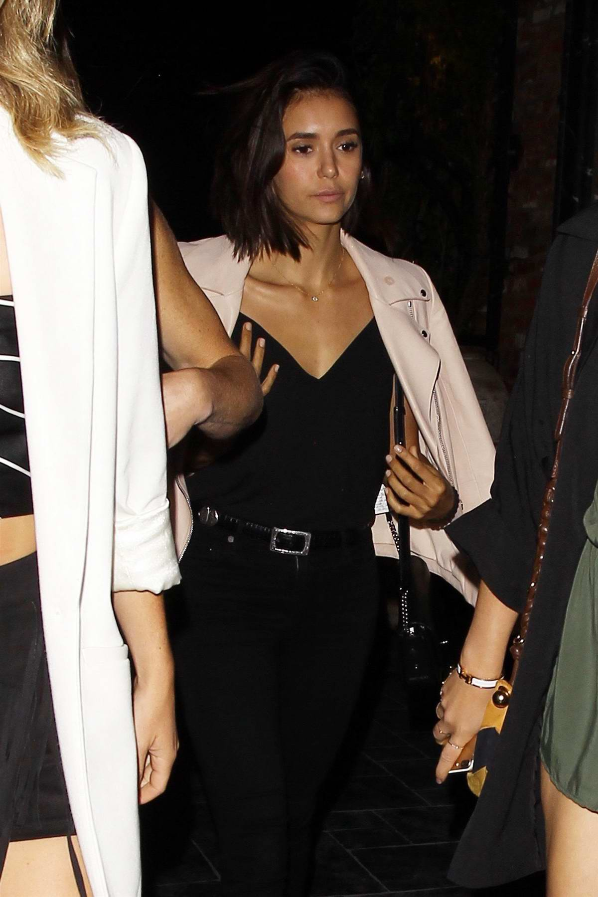 Nina Dobrev on a Night Out with Friends at Beauty and Essex in Los Angeles