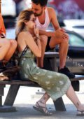 Paris Jackson wearing a Green Summer Dress enjoying a Smoke while hanging out with Friends in New York