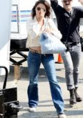Penelope Cruz busy on her Phone while out on a Shoot in Los Angeles