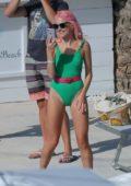 Pixie Lott wearing Green Swimsuit in Ibiza, Spain
