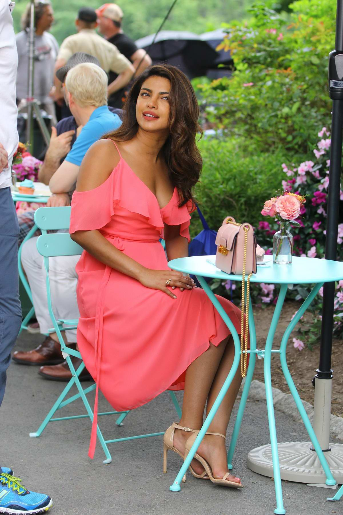 Priyanka Chopra filming scenes for the new movie Isnt It Romantic in Central Park, New York