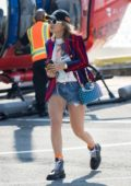 Rita Ora seen arriving on Helicopter on Sunday afternoon in New York City