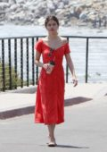 Selena Gomez in Red Dress spotted out on a Stroll by the Ocean in Malibu