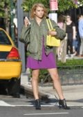 Sofia Richie in a Purple Dress on the Set of a Photoshoot in New York