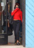 Vanessa Hudgens in a Red Hoodie leaving the Gym in Studio City