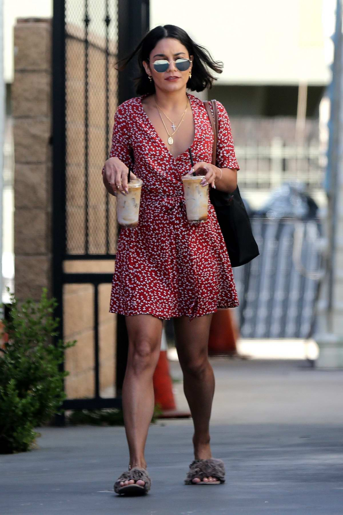 Vanessa Hudgens in a Red Floral Dress stops by for some Coffee in Los Angeles