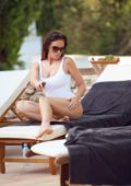 Vicky Pattison in White Swimsuit relaxing by the Poolside with her boyfriend in Mallorca, Spain