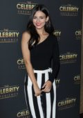 Victoria Justice dons Black Top and Striped Pants for The Celebrity Experience