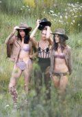 Alessandra Ambrosio, Adriana lima, Candice Swanepoel and Jasmine Tookes on a photoshoot for Victoria's Secret in Aspen, Colorado