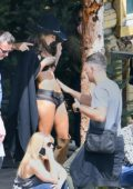 Alessandra Ambrosio getting oiled up during a photoshoot for Victoria's Secret's upcoming holiday catalog in Aspen, Colorado