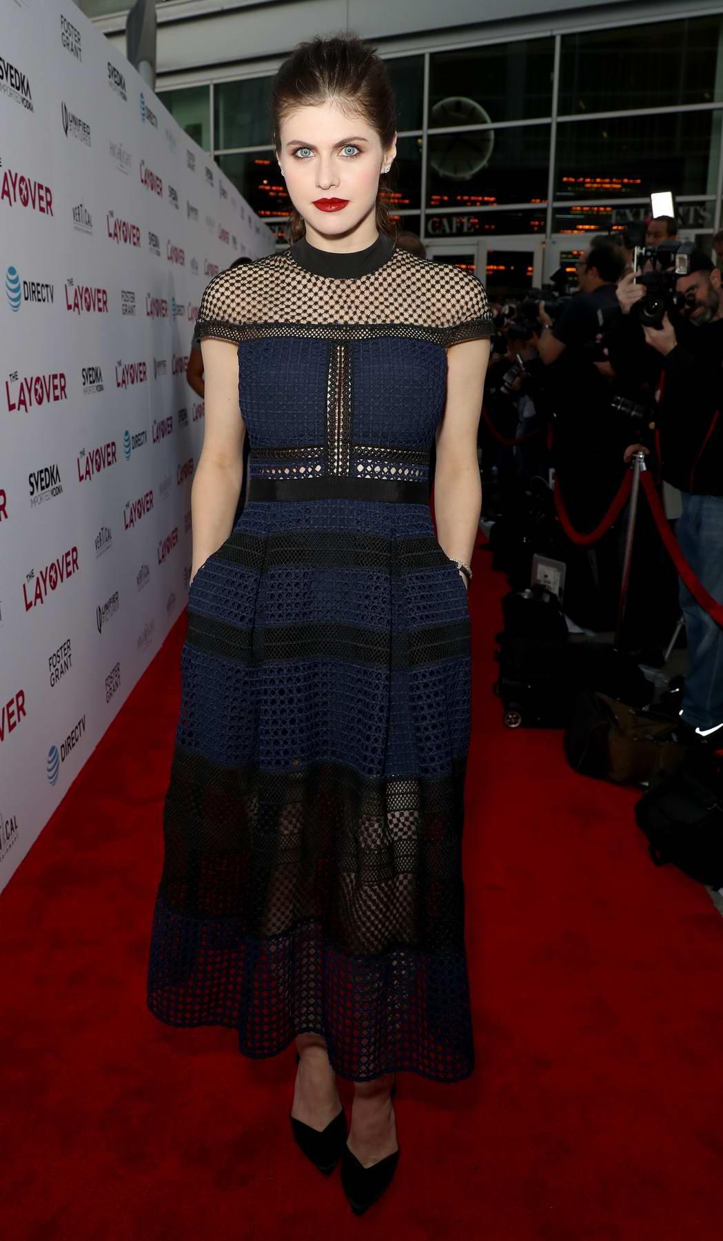 Alexandra Daddario at The Layover film premiere in Los Angeles