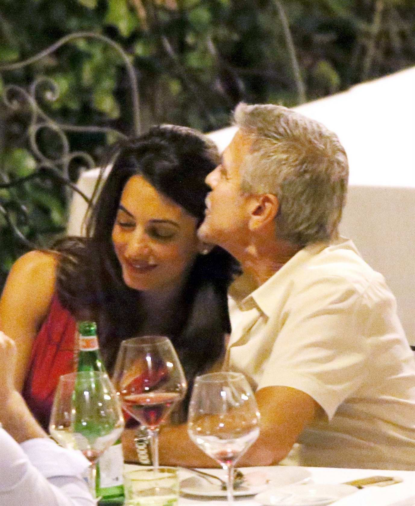 Amal Clooney and George Clooney enjoys a Candlelight dinner at Le Darsene in Bellagio, Italy