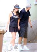 Amal Clooney and George Clooney looking sporty after enjoying playing tennis match together before returning home in Laglio, Italy