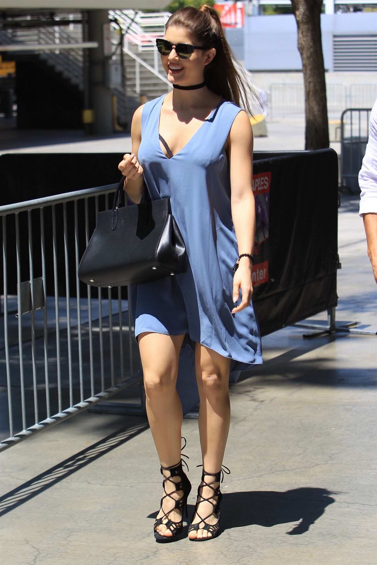 Amanda Cerny arriving for the Big 3 Basketball event at Staples Center in Los Angeles
