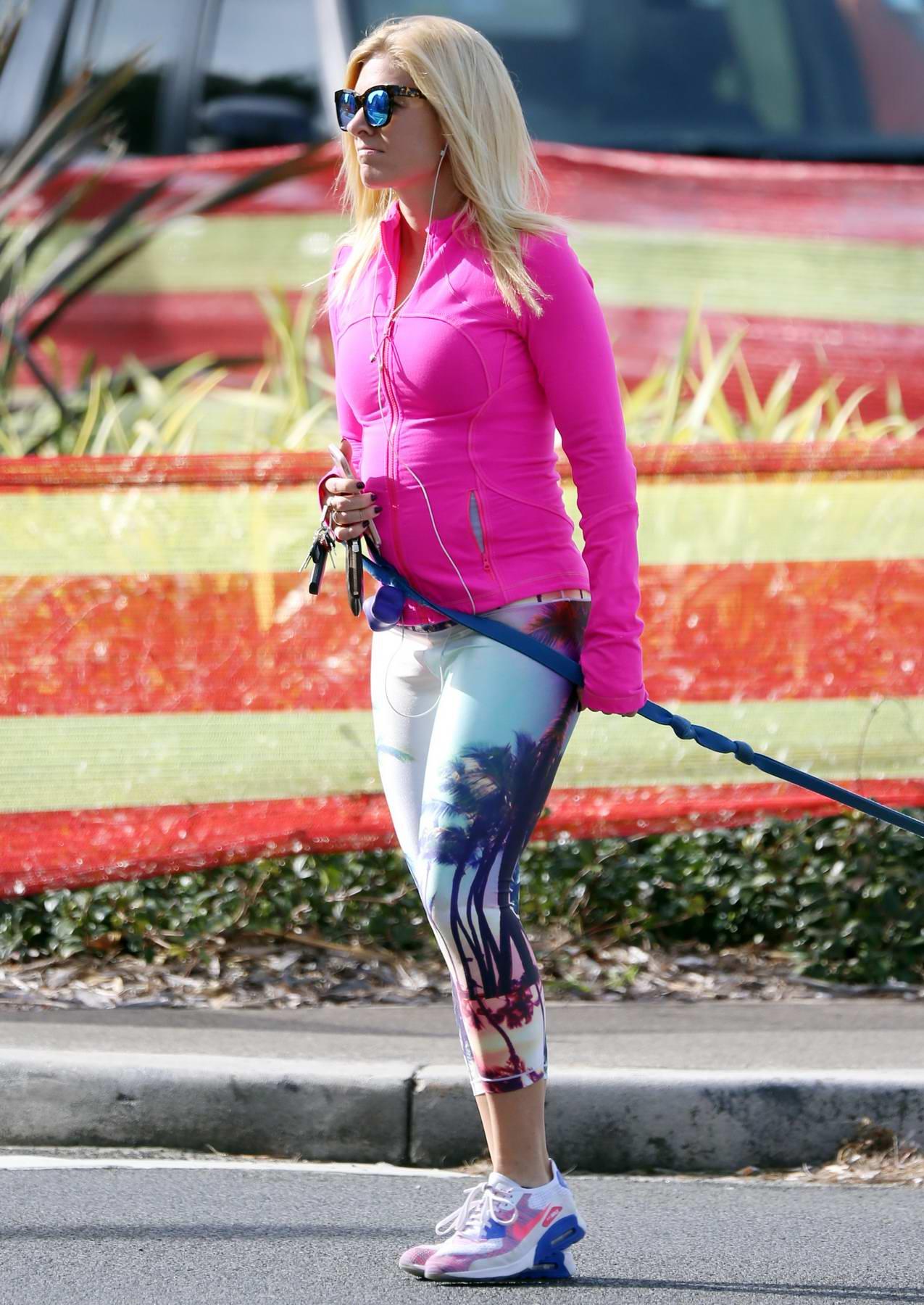 Anna Kooiman in Fluro Gym Wear walks her Dog in Bondi, Sydney