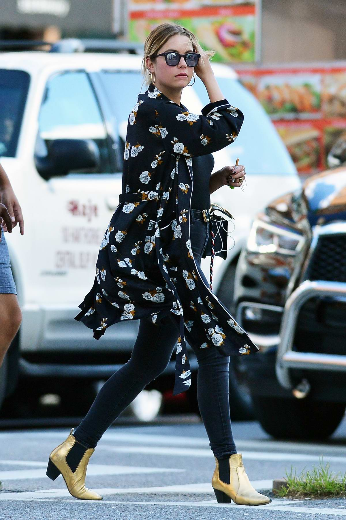 Ashley Benson steps out wearing a Kimono over black T-shirt in New York