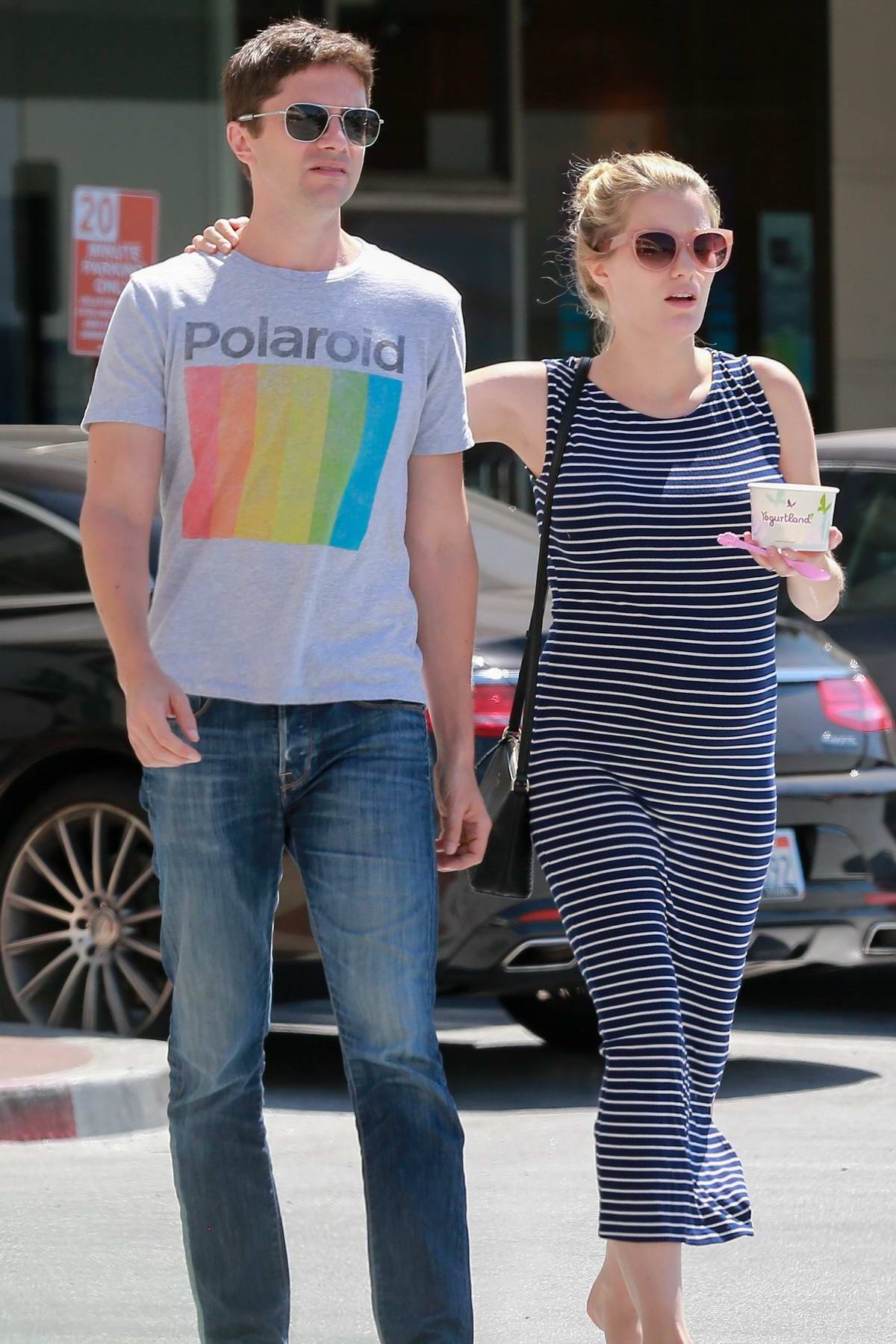 Ashley Hinshaw and Topher Grace make a Froyo outing at Yogurtland in Studio City, Los Angeles