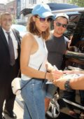 Aubrey Plaza signs autographs as she leaves her Hotel in New York