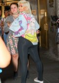Bebe Rexha spotted with her dog while leaving The Tonight Show Starring Jimmy Fallon in New York